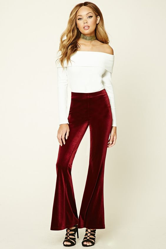 Velvet flare leggings