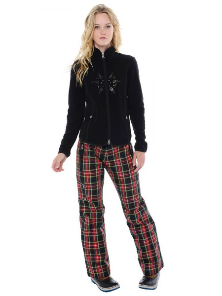 Black fleece jacket and red checked loose fit pants