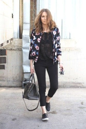 Casual outfits ideas with slip on shoes | Floral bomber jacket .