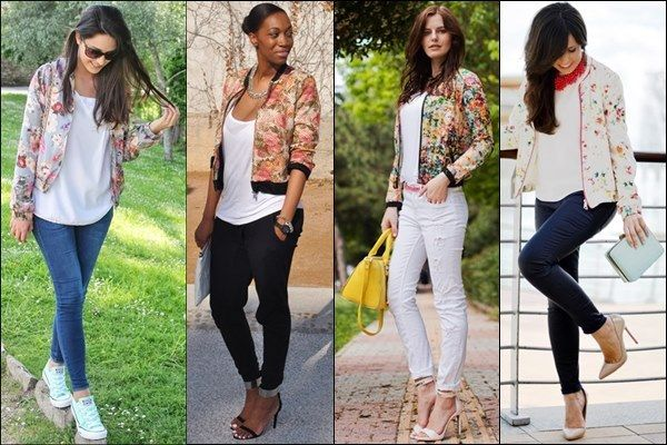 Floral Bomber Jacket Outfits – thelatestfashiontrends.com in 2020 .