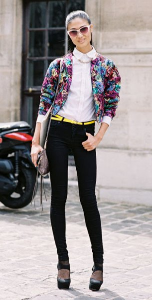 floral bomber jacket with skinny jeans with white collar shirt