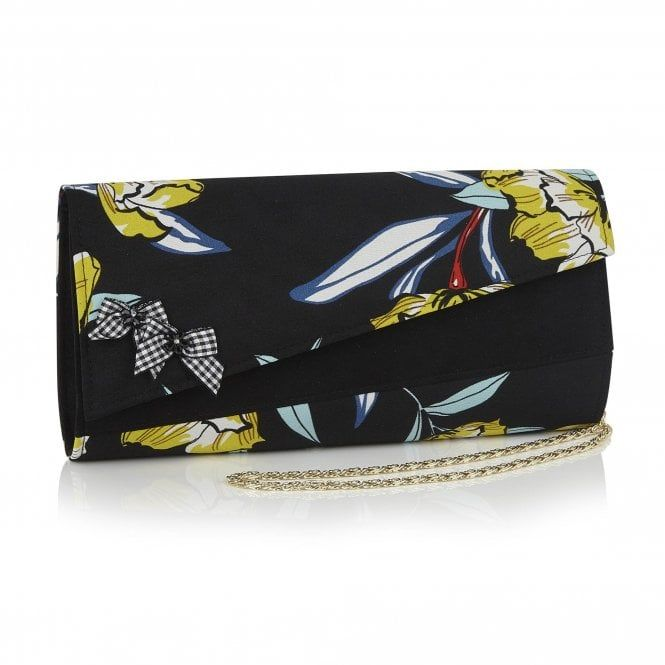 Clutch bag BERN combines asymmetric styling with bold bright-on .