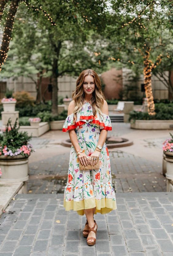 Flower dress with cold shoulder red yellow