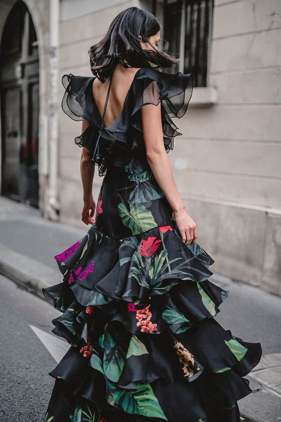 Maxi dress with floral green and black ruffles