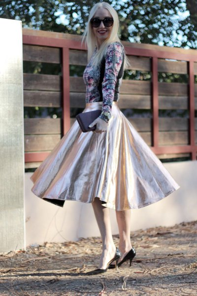 Floral long sleeve top silver flared midi skirt