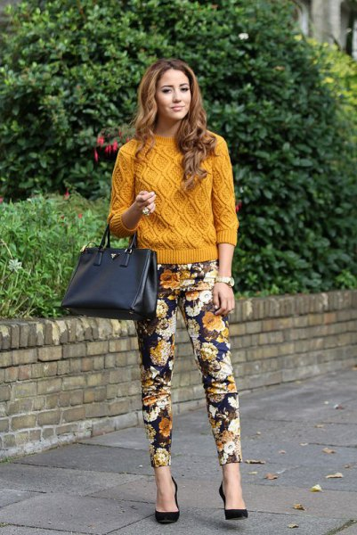 Flower pants green yellow knitted sweater