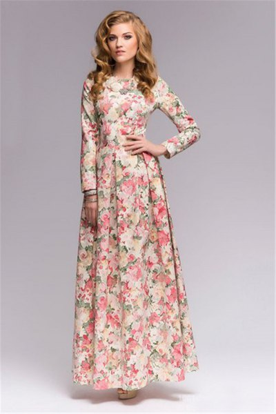 floor-length shift dress with floral pattern