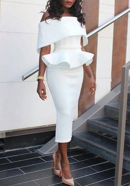pleated off shoulder peplum midi bodycon dress