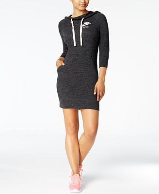 Bodycon dark gray hoodie dress pink sneakers