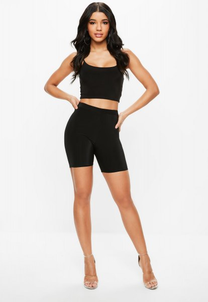 Figure-hugging, short-cut tank top with a scoop neckline and high-waisted biker shorts