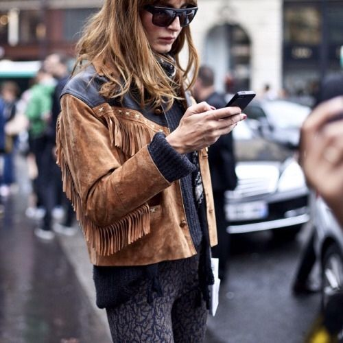 Fringed leather jacket suede brown