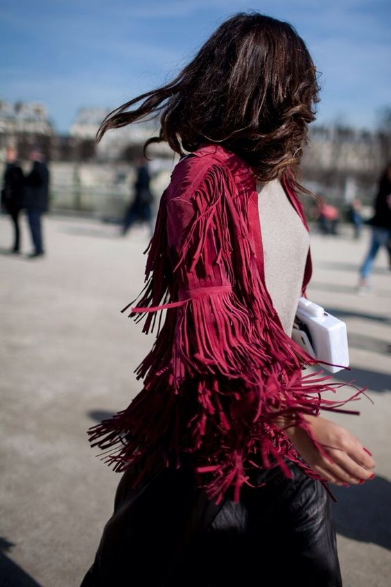 Leather jacket with fringes, suede pink