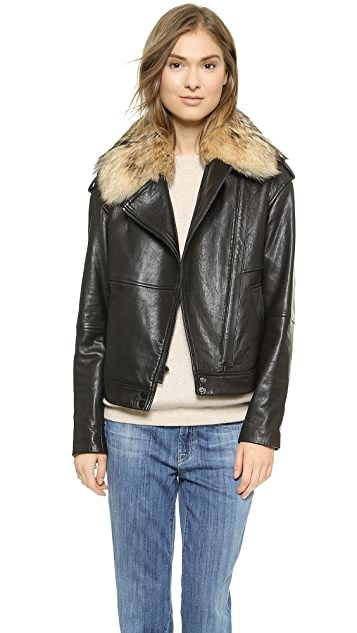 Vince Fur Collar Leather Jacket | SHOPB