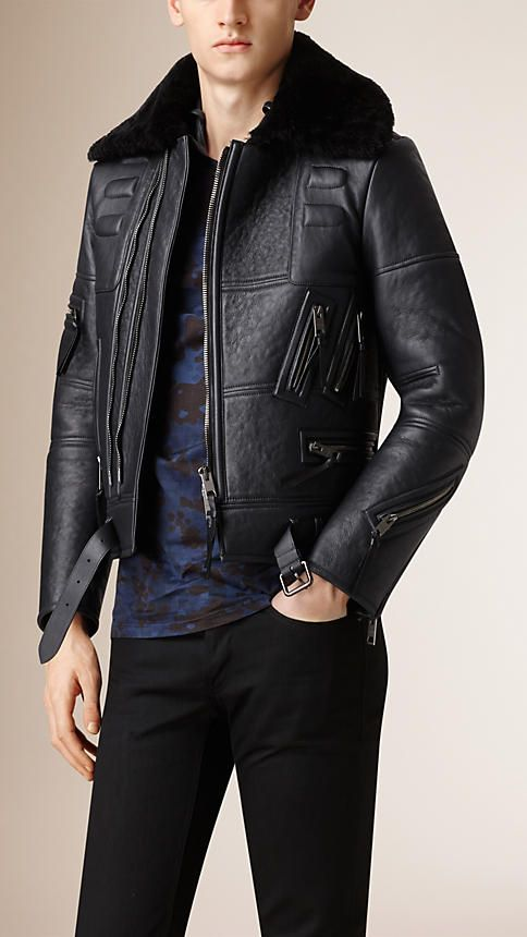 Burberry Ink Shearling Biker Jacket with Fur Collar - A structured .