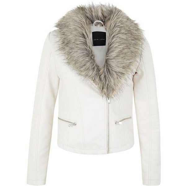 Cream Leather-Look Faux Fur Collar Biker Jacket | Fur collar .