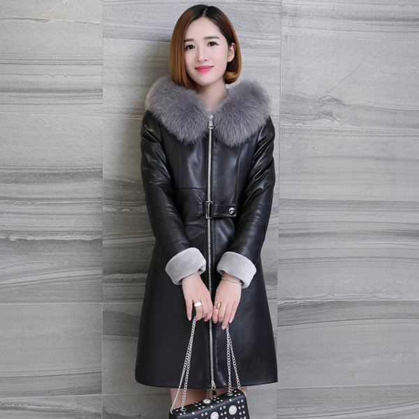 knee-length leather dress with fur collar