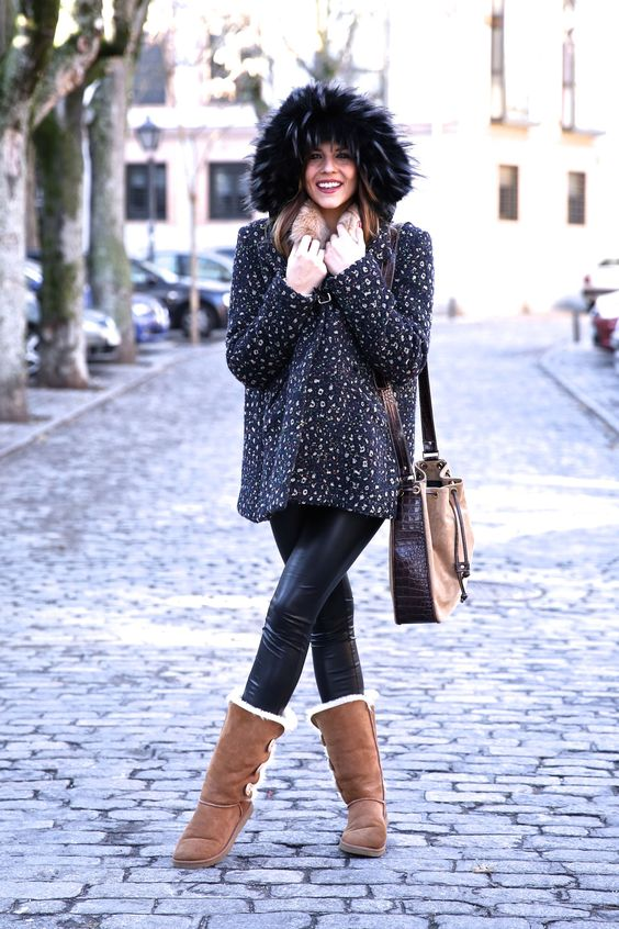 Fur-lined boots fluffy sweater