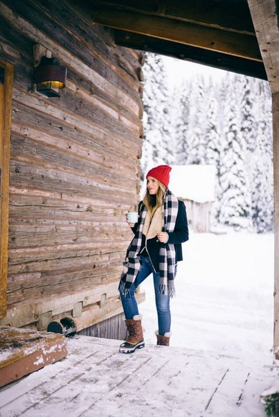 Fur lined boots red hat