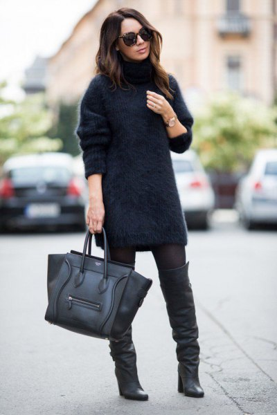 Fuzzy turtleneck dress leather boots