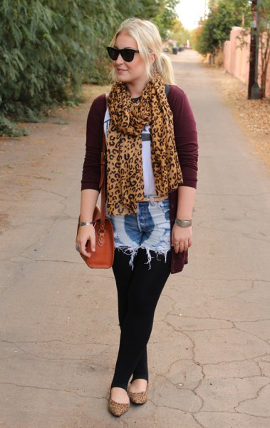 Chiffon scarf with gold and black leopard print, black cardigan and washed denim shorts