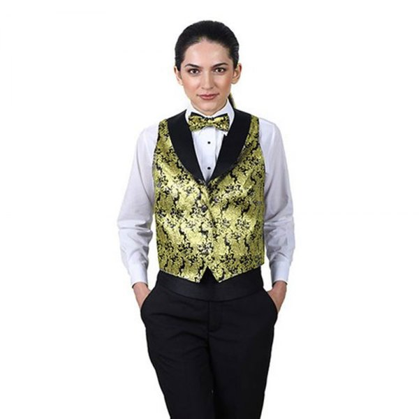 Waistcoat with gold and black print, matching bow tie and white shirt