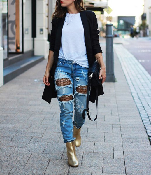 gold ankle boots black long cardigan ripped jeans