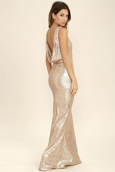 Gold backless sequin maxi dress