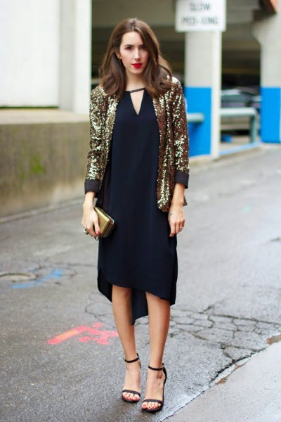 golden blazer with black midi dress with V-neck