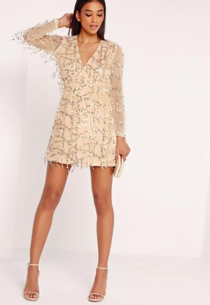 Sequin shift dress with golden chiffon sleeves