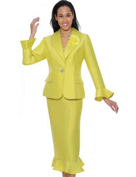 golden church suit jacket with matching midi skirt with ruffle hem