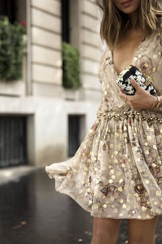 golden cocktail dress with floral pattern
