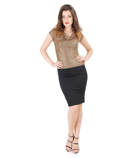 golden short-sleeved top with waterfall neckline and black mini skirt