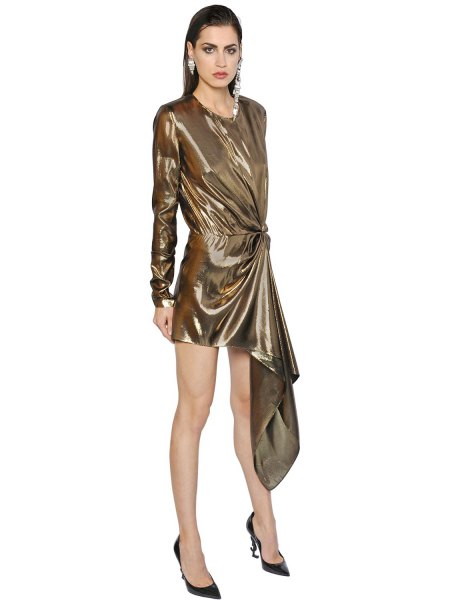 gold long sleeved draped mini lame dress