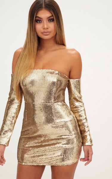gold long-sleeved bodycon dress