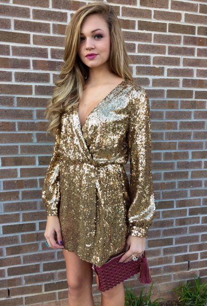 Gold Long Sleeve Sequin Wrap Dress