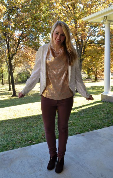 golden metallic cow neck blouse with pearl blazer