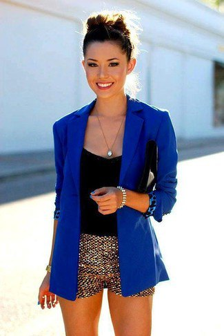 gold mini-shorts royal blue blazer