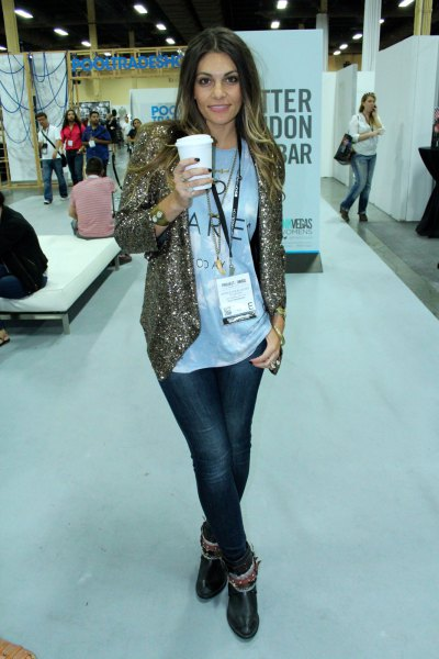 golden sequin jacket with relaxed fit and white printed t-shirt