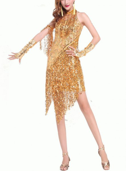 gold sequin fringe mini dress in Gatsby style