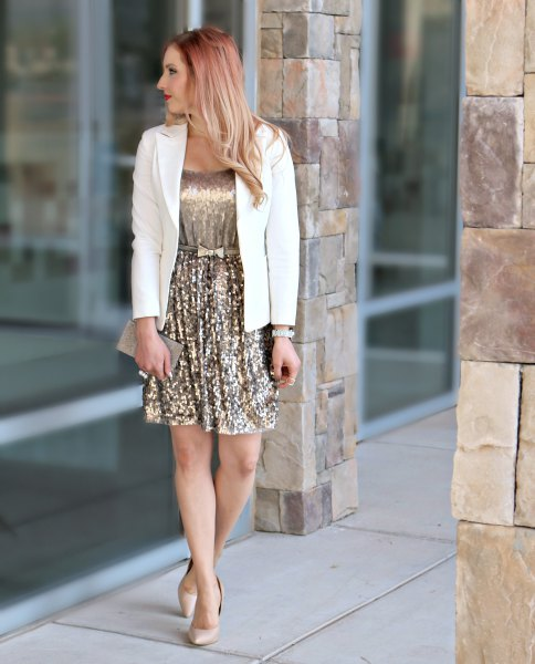 Gold Sequin Pleated Mini Dress White Blazer