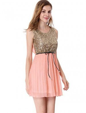 gold sequin tank top with blushing pink mini chiffon pleated skirt