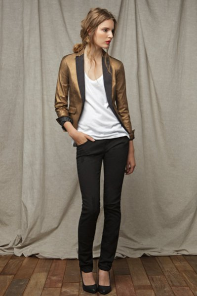 golden slim fit blazer with white vest top and black skinny jeans