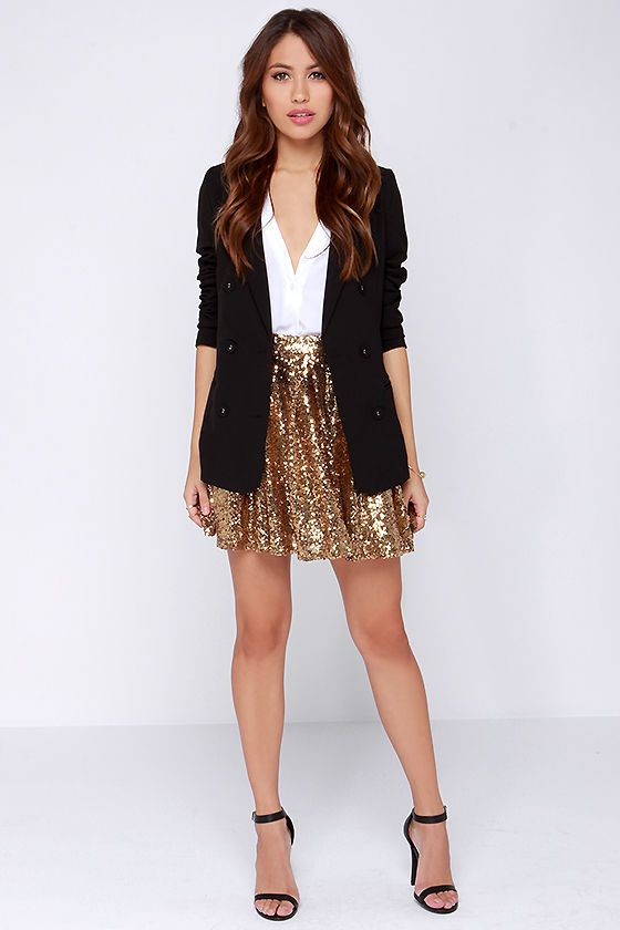 Cheers to You! Gold Sequin Skirt | Gold sequin skirt, Eve outfit .