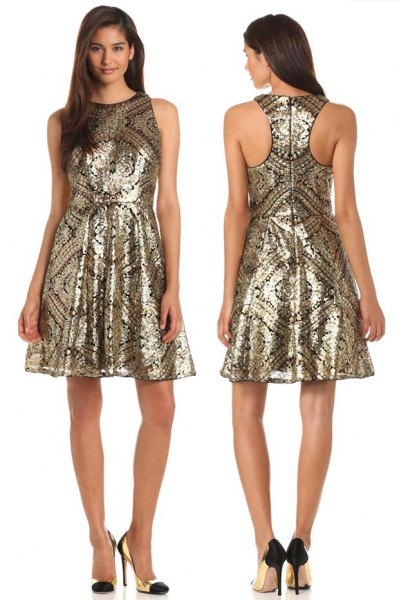 golden tribal printed fit and flared dress