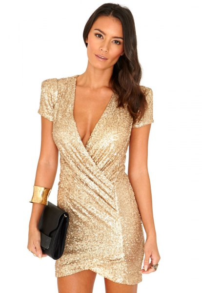 Gold Wrap Mini Dress Black Clutch Bag