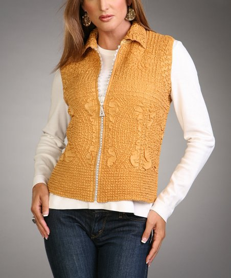golden lace vest with zipper and white long-sleeved T-shirt