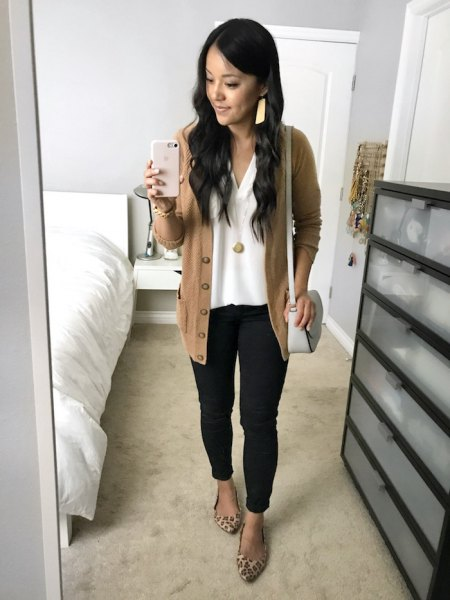 gold-green casual cardigan with white top with V-neck