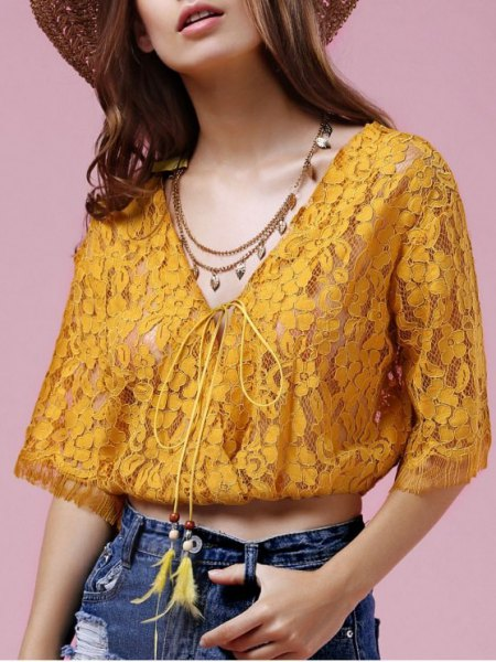 golden lace semi-transparent short cut blouse with straw hat