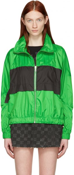 green and black block polo windbreaker with mini skirt