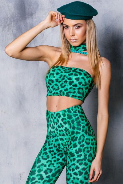 green and black top with leopard print and collar